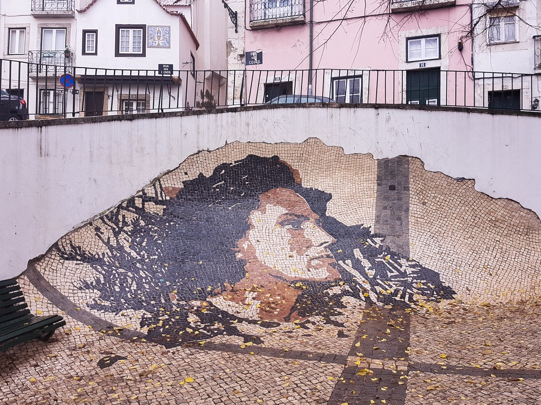Amália Rodrigues by Vhils Lisboa