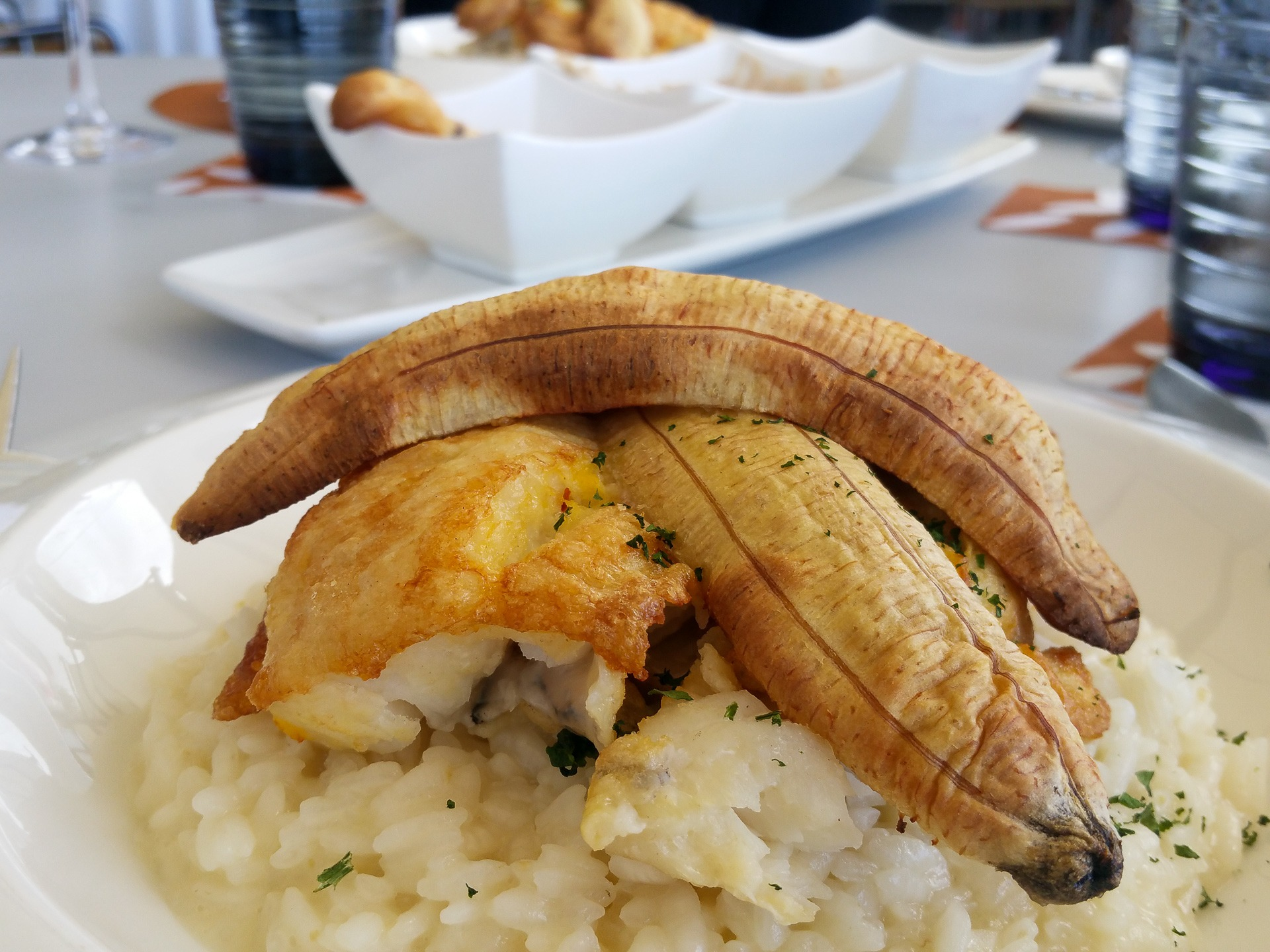 risotto with scabbardfish and banana