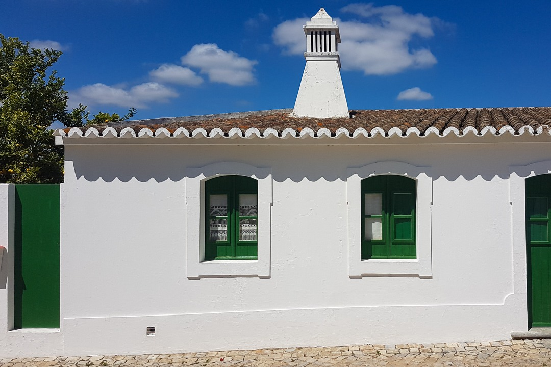 white and green house